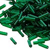 Bugle bead, Dyna-Mites™, glass, transparent dark green, # 3. Sold per pkg of 35 grams.