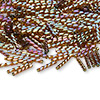 Bugle bead, Dyna-Mites™, glass, transparent rainbow brown, 12mm twisted. Sold per 50-gram pkg.