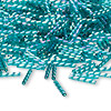 Bugle bead, Dyna-Mites™, glass, transparent rainbow turquoise, 12mm twisted. Sold per 1/2 kilogram pkg.