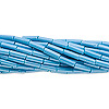 Bugle bead, Preciosa Czech glass, opaque sea blue, #3 with round hole. Sold per pkg of 1 hank.