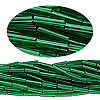 Bugle bead, Preciosa® Czech glass, transparent medium green, #3 with round hole. Sold per 1/2 kilogram pkg.
