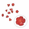 Button, bamboo coral (dyed), red, 7-8mm flower, Mohs hardness 3-1/2 to 4. Sold per pkg of 10.