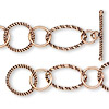 Chain, antiqued copper, 12mm smooth round / 16mm twisted round / 24x15mm wire-wrapped twisted oval, 7-1/2 inches with toggle clasp. Sold individually.