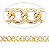 Chain, gold-plated brass, 6x5mm curb. Sold per pkg of 5 feet.
