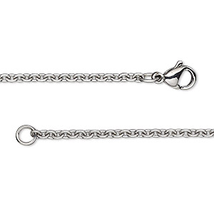 Chain, stainless steel, 2.2mm cable, 30 inches with lobster claw clasp. Sold individually.