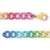 Chain, steel, multicolored, 9x6mm curb with rainbow pattern, 7-1/2 inches with lobster claw clasp. Sold individually.