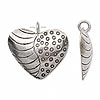 Charm, Hill Tribes, antiqued fine silver, 25x24mm heart with lines and dots design. Sold per pkg of 2.