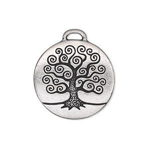 Charm, TierraCast®, antique silver-plated pewter (tin-based alloy), 23.5mm double-sided flat round with tree of life. Sold individually.