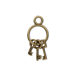 "Charm, antique brass-plated ""pewter"" (zinc-based alloy), 21x12mm double-sided old-fashioned key ring with (3) keys. Sold per pkg of 10."
