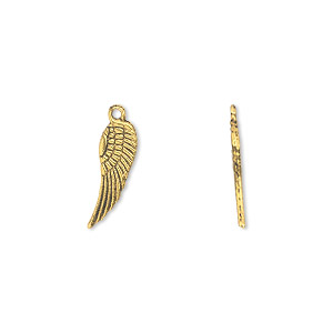 "Charm, antique gold-finished ""pewter"" (zinc-based alloy), 15x5mm double-sided wing. Sold per pkg of 50."