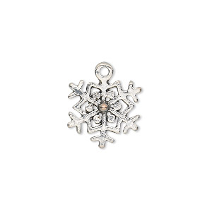 "Charm, antique silver-plated ""pewter"" (zinc-based alloy), 15x14mm single-sided snowflake. Sold per pkg of 20."