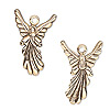 Charm, antiqued gold-plated pewter (tin-based alloy), 25x17mm double-sided angel. Sold individually.