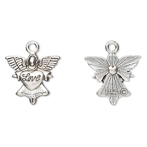 "Charm, antiqued pewter (tin-based alloy), 21x20mm angel with ""Love."" Sold per pkg of 2."
