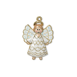 "Charm, enamel and gold-finished ""pewter"" (zinc-based alloy), multicolored with glitter, 23x18mm single-sided angel. Sold individually."