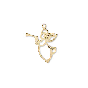 Charm, gold-plated brass, 17x16mm angel with loop. Sold per pkg of 10.