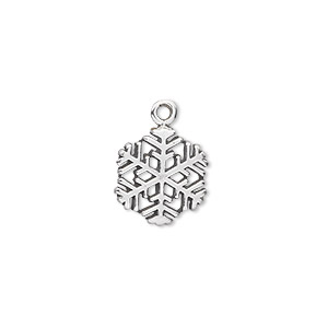 Charm, sterling silver, 13x12mm snowflake. Sold individually.