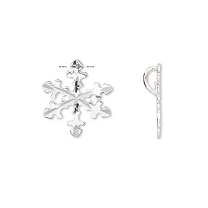 Charm, sterling silver, 16x16mm single-sided diamond-cut snowflake. Sold per pkg of 2.