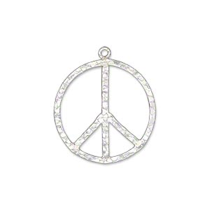 Charm, sterling silver, 21mm hammered flat peace sign. Sold individually.