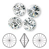 Chaton, Swarovski crystal rhinestone, Crystal Passions®, crystal clear, foil back, 12mm faceted rivoli (1122). Sold per pkg of 48.