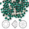 Chaton, Swarovski crystal rhinestone, Crystal Passions®, emerald, foil back, 4-4.1mm Xilion round (1028), PP32. Sold per pkg of 12.