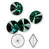 Chaton, Swarovski crystal rhinestone, Crystal Passions®, emerald, foil back, 12mm faceted rivoli (1122). Sold per pkg of 48.