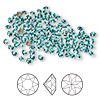 Chaton, Swarovski crystal rhinestone, Crystal Passions®, light turquoise, foil back, 2.7-2.8mm faceted Xirius round (1088), PP21. Sold per pkg of 12.