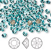 Chaton, Swarovski crystal rhinestone, Crystal Passions®, light turquoise, foil back, 4.4-4.6mm faceted Xirius round (1088), SS19. Sold per pkg of 144 (1 gross).