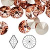 Chaton, Swarovski crystal rhinestone, Crystal Passions®, rose peach, foil back, 12mm faceted rivoli (1122). Sold per pkg of 48.