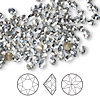 Chaton, Swarovski crystal rhinestone, crystal blue shade, foil back, 4.0-4.1mm faceted Xirius round (1088), PP32. Sold per pkg of 1,440 (10 gross).
