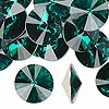 Chaton, Swarovski crystal rhinestone, emerald, foil back, 16mm faceted rivoli (1122). Sold per pkg of 48.