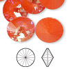 Chaton, Swarovski crystal rhinestone with third-party coating, Crystal Passions®, ultra orange AB, 18mm faceted rivoli (1122). Sold per pkg of 2.