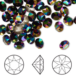 Chaton, Swarovski® crystal rhinestone, Crystal Passions®, rainbow dark, foil back, 6.14-6.32mm Xirius round (1088), SS29. Sold per pkg of 12.