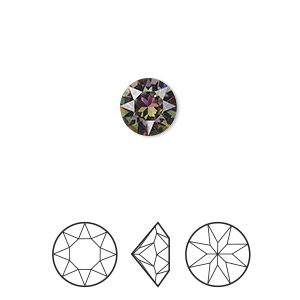 Chaton, Swarovski® crystal rhinestone with third-party coating, Crystal Passions®, crystal vitrail light, foil back, 8.16-8.41mm Xirius round (1088), SS39. Sold per pkg of 4.