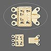 Clasp, 3-strand tab, gold-plated brass, 10x7mm filigree square. Sold per pkg of 500.