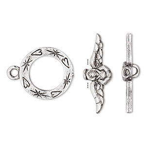 Clasp, antique silver-plated pewter (tin-based alloy), 18x16mm toggle with hearts and angel bar. Sold individually.