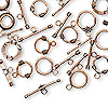 Clasp mix, toggle, antiqued copper, mixed sizes and design. Sold per 50-gram pkg, approximately 15 clasps.