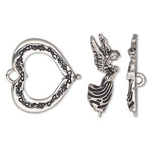 "Clasp, toggle, antique silver-plated ""pewter"" (zinc-based alloy), 23x21mm heart with angel bar. Sold individually."