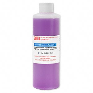 Cleaning solution for ultrasonic jewelry cleaner, ammonia-free. Sold per 8-ounce bottle.