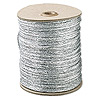 Cord, Rattail™, satin, metallic silver, 2mm. Sold per 432-foot spool.