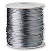 Cord, Satinique™, satin, dark grey, 1mm mini. Sold per 210-foot spool.