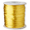Cord, Satinique™, satin, gold, 1mm mini. Sold per 210-foot spool.