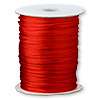 Cord, Satinique™, satin, red, 1.5mm small. Sold per 432-foot spool.