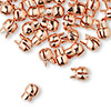 "Crimp, Bulldog Crimp™, copper-plated ""pewter"" (zinc-based alloy), 7x6mm. Sold per pkg of 50."