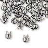"Crimp, Bulldog Crimp™, gunmetal-plated ""pewter"" (zinc-based alloy), 7x6mm. Sold per pkg of 50."