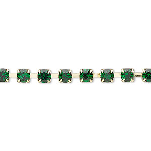 Cupchain, glass rhinestone and gold-finished brass, emerald green, 4mm round. Sold per pkg of 1 meter, approximately 160 cups.