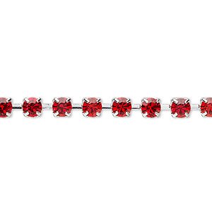 Cupchain, glass rhinestone and silver-plated brass, light red, 4mm round. Sold per pkg of 1 meter, approximately 160 cups.
