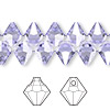 Drop, Swarovski crystal, Crystal Passions®, Provence lavender, 8mm faceted bicone pendant (6301). Sold per pkg of 12.