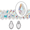 Drop, Swarovski crystal, Crystal Passions®, crystal AB, 9x5mm faceted briolette pendant (6007). Sold per pkg of 48.