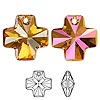 Drop, Swarovski crystal, Crystal Passions®, crystal astral pink, 20x20mm faceted cross pendant (6866). Sold per pkg of 24.