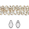 Drop, Swarovski crystal, Crystal Passions®, crystal golden shadow, 9x5mm faceted briolette pendant (6007). Sold per pkg of 48.
